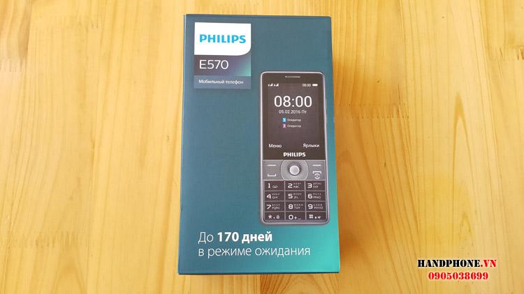 Mở hộp điện thoại Philips E570 pin khủng