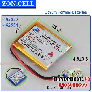 Pin li po Zoncell 550mah 482833mm hpvn