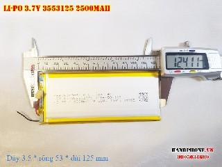 bán pin Lithium Polymer siêu mỏng  Li Po  3 7V 2500mah 3553125 tại hà nội Battery